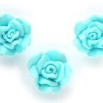 Roos, kraal van fimoklei, 20x12mm, Turquoise, 10 st