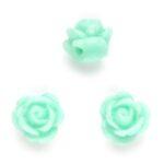 Roosje, kraal van kunsthars, 9x7mm, Licht Turquoise, 20 st