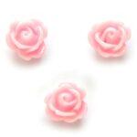 Roosje, kraal van kunsthars, 9x7mm, Roze, 20 st