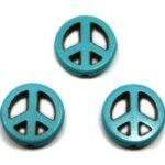 Kraal, Peace, Keramiek Turquoise, 15mm, Turquoise, 20 st