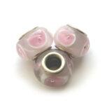Pandorastijlkraal, lichtroze, roze rondje, 15x10mm, 5 st