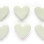 Zeepkralen, 6 Kleine harten, Wit, 30x27mm, 6 st