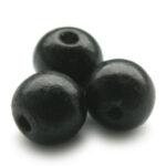 Ronde houten kraal, 19mm, Zwart, 50 st