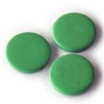 Ronde platte houten kraal, 30mm,  Groen, 25 st