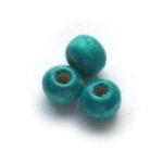 Ronde houten kraal,  6mm, Blauwgroen, 250 st