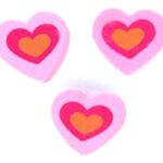 Hartvormige kraal, hout, 3 kleuren, 13x12mm, Roze / Oranje, 25 s