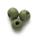 Ronde houten kraal DQ,  6mm, Pastel olijf, 250 st