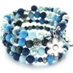 Zelfmaakpakket memory wire armband, Blauwtinten, 1 st
