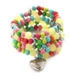 Zelfmaakpakket memory wire armband, Kids, multicolour, 1 st