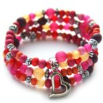 Zelfmaakpakket memory wire armband, Fuchsia/rood/oranje, 1 st