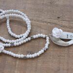 Zelfmaakpakket love ketting, hout/leer/steen, Wit, 1 st