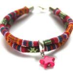 Zelfmaakpakket aztec koord armband, Rood/oranje/multi, 1 st