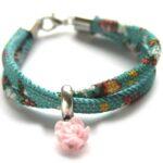 Zelfmaakpakket aztec koord armband, Turquoise/bloem, 1 st