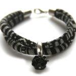 Zelfmaakpakket aztec koord armband, Zwart/wit, 1 st