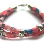 Zelfmaakpakket aztec koord armband, Roze/bloem, 1 st