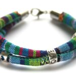 Zelfmaakpakket aztec koord armband, Blauw/groen/multi, 1 st