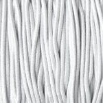 Gekleurd elastiek rond,  1mm, Wit, 10 m