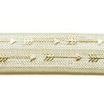 Ibiza elastiek, Goudprint, pijl, 16mm, Ivoor, 1 m