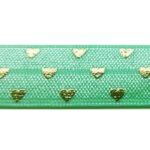 Ibiza elastiek, Goudprint, Hartjes, 16mm, Turquoise, 1 m