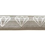 Ibiza elastiek, Zilverprint, Diamant, 16mm, Taupe, 1 m