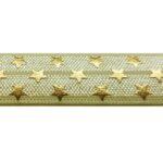 Ibiza elastiek, Goudprint, Sterren, 16mm, Ivoor, 1 m