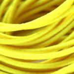 Gekleurd elastiek rond,  1mm, Geel, 10 m