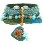 Armband, leer zeegroen metallic, RVS, lint, mooie kralen, 1 st