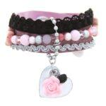 Armband, leer vintage roze glans, RVS, lint, mooie kralen, 1 st