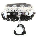 Armband, leer bontje zwart/wit, RVS, lint, mooie kralen, 1 st