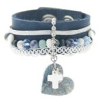 Armband, leer, RVS, lint, mooie kralen, donkerblauw, 1 st