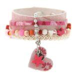 Armband, leer, RVS, lint, mooie kralen, roze, 1 st