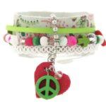 Armband, leer, RVS, lint, mooie kralen, groen/roze, 1 st