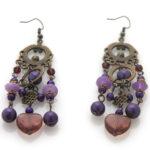 Paar lange brons/paarse oorbellen, 1 st