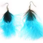 Oorbellenpaar, Turquoise met pauweveer, 1 paar