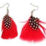 Oorbellenpaar, Rood en zwart-witte veer, 1 paar
