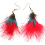 Oorbellenpaar, Rood met pauweveer, 1 paar