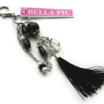 Tas/sleutelhanger, met trosje, zwart, 22 cm lang