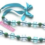 Geknoopte lintketting, turquoise en groen