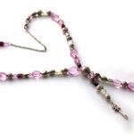 Ketting lang geregen lila/paars/zilver tinten