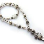 Ketting lang bloem, kort draagbaar, zilver/transparant/parel