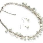 Jasseronketting en oorbellen, glasparels, wit, 42 cm, 1 st