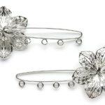 Metalen broche met bloem, 84x42mm, 4 st