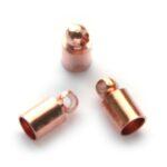 Eindkapje, recht, voor bv. leer, binnenmaat 3mm, 8x4mm, Rose Gol