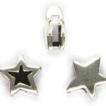 Schuiver, DQ metaal, Ster, opening 10X2,5mm, 14mm, Antiek zilver
