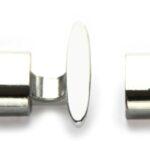 Sluiting DQ voor leer koord, 20x23mm, Zilver, 1 st