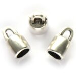 Eindkapje DQ, opening 6mm rond,  9mm, Antiek zilver, 4 st