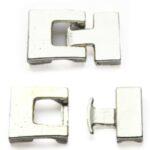 Metalen kliksluiting, 31x22mm, Zilver, 3 st