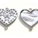 Hartvormig metalen hanger, sterren, 39mm, 10 st