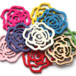 Houten ornament, roos, 45mm, Multi Colour, 10 st