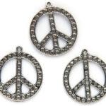 Peace symbool, metalen hanger, 25x30mm, 10 st